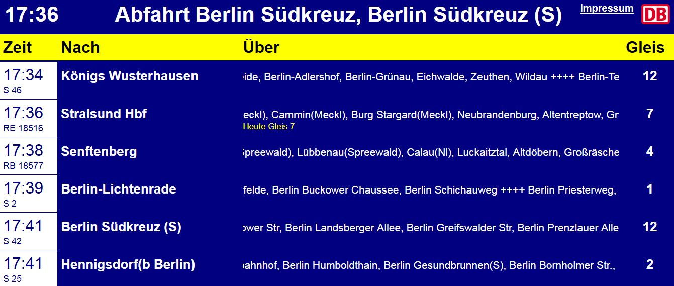 Abfahrt Bahnhof Berlin Südkreuz